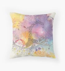The Journey, mixed media abstract Throw Pillow