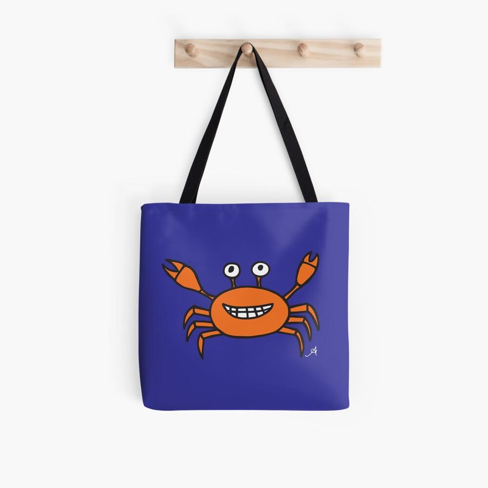 Mr and Mrs Crabby Amanya Design Blue Single Tote Bag
