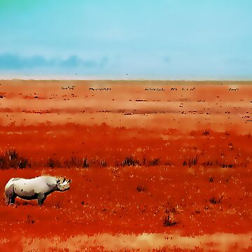 Rhino in Red with Blue Sky by byoGuru