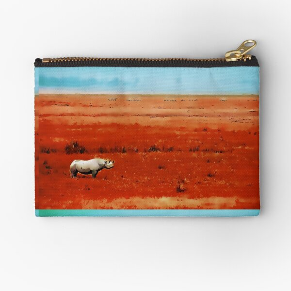 Rhino in Red with Blue Sky Zipper Pouch