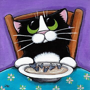 Hungry Cat with Bowl of Soup by LisaMarieArt