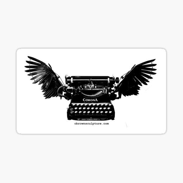 B&W Winged Corona Typewriter Sticker