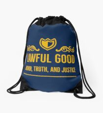 Alignment Lawful Good - Honor, Truth, and Justice Drawstring Bag