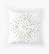 Modern Mandala 1 - Turquoise / Gold / Lavender Throw Pillow