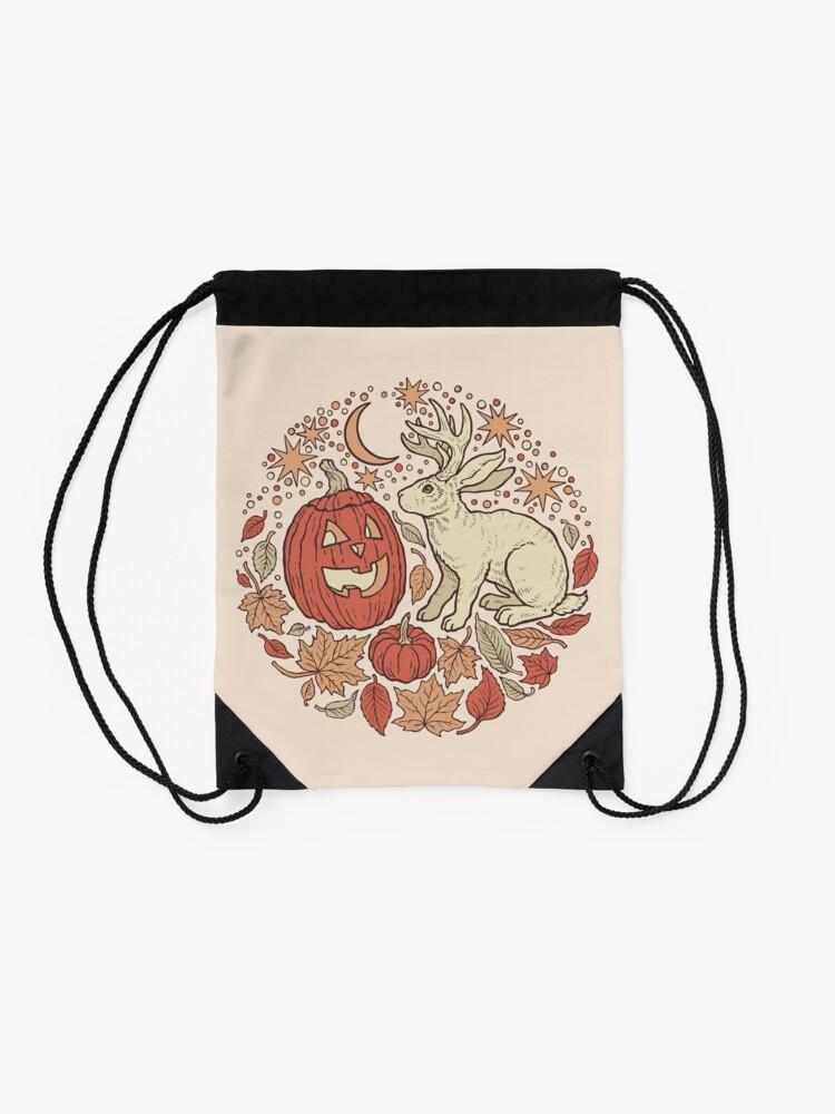 Alternate view of Halloween Friends | Autumn Palette Drawstring Bag