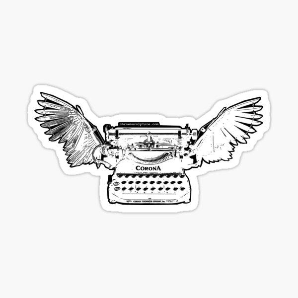 Inverted B&W Corona Typewriter Sculpture Image Sticker