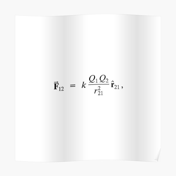 Coulomb's law: Magnitude of Electrostatic Force between two point charges is directly proportional to Product of Magnitudes of charges and inversely proportional to Square of Distance between them Poster
