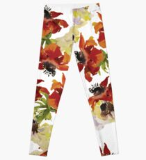 Red Anemones Print Leggings