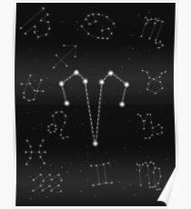 Widder Sternzeichen Konstellation Design Poster