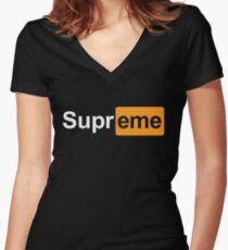 Supreme x Pornhub  Women's Fitted V-Neck T-Shirt