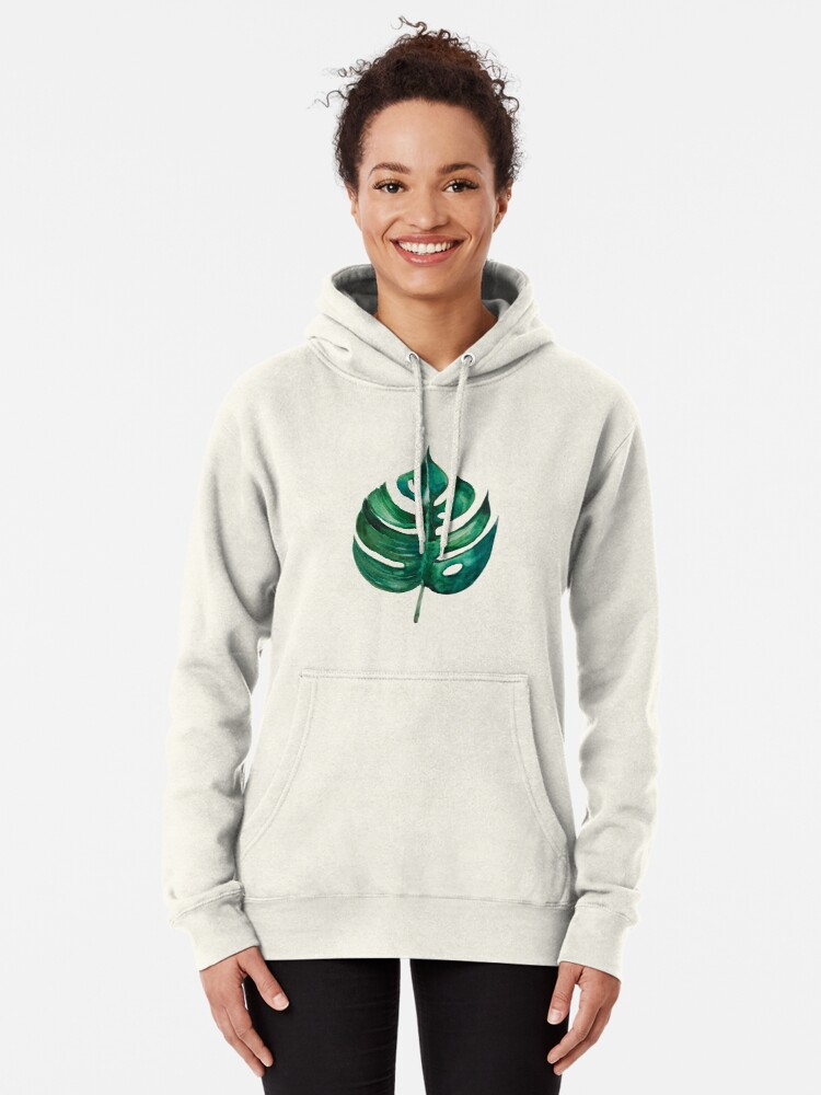 Alternate view of Monstera Banana Palm Leaf Pullover Hoodie