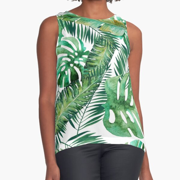 Monstera Banana Palm Leaf Sleeveless Top