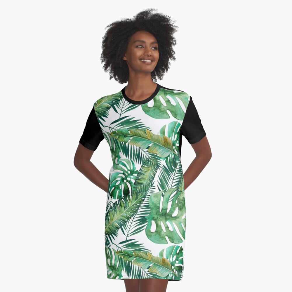 Monstera Bananen Palmblatt T-Shirt Kleid
