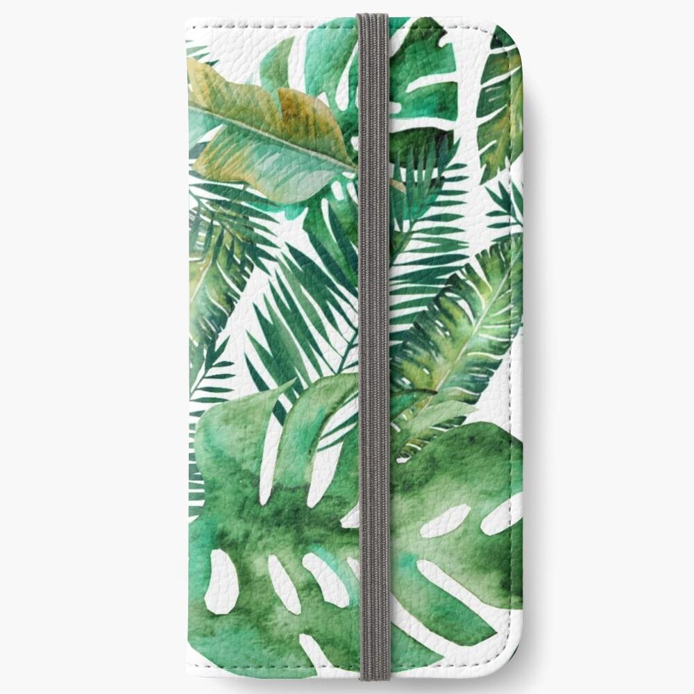 Monstera Bananen Palmblatt iPhone Flip-Case