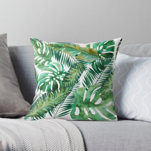 Monstera Banana Palm Leaf Throw Pillow