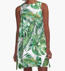 Monstera Bananen Palmblatt A-Linien Kleid