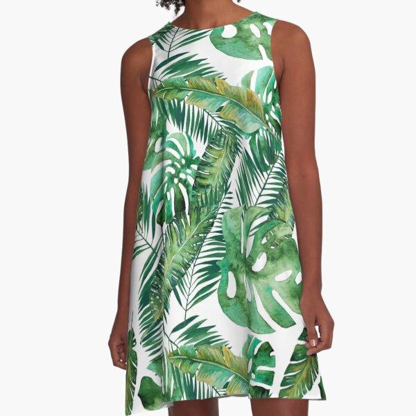 Monstera Banana Palm Leaf A-Line Dress