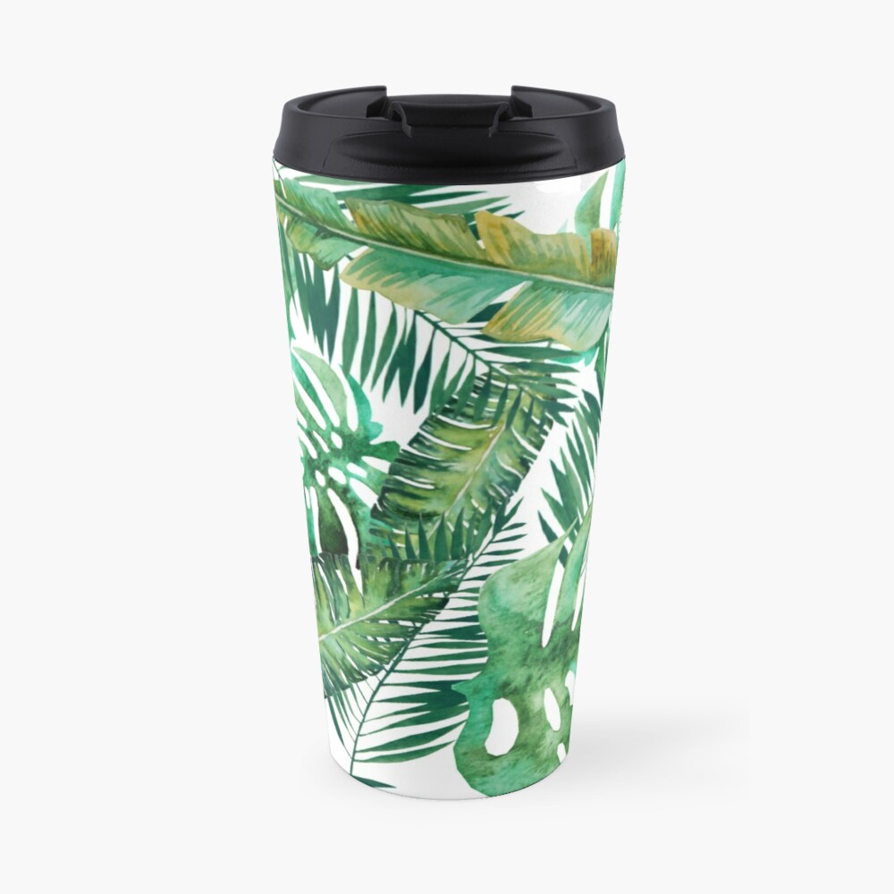 Monstera Banana Palm Leaf Travel Mug