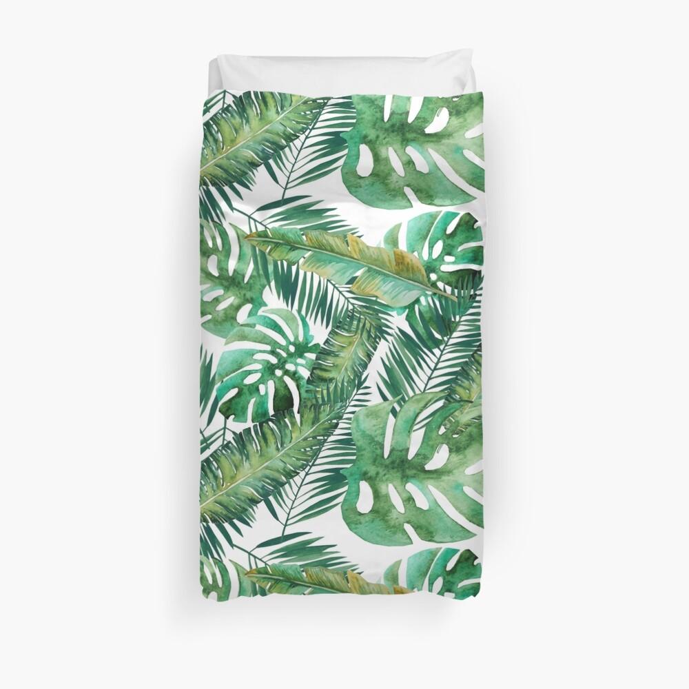 Monstera Banana Palm Leaf Duvet Cover