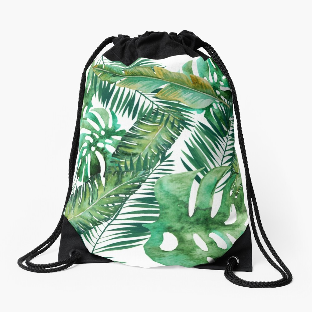 Monstera Banana Palm Leaf Drawstring Bag