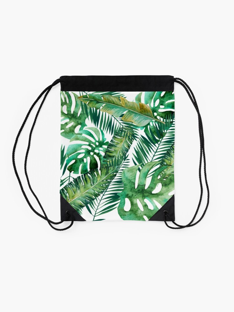 Alternate view of Monstera Banana Palm Leaf Drawstring Bag