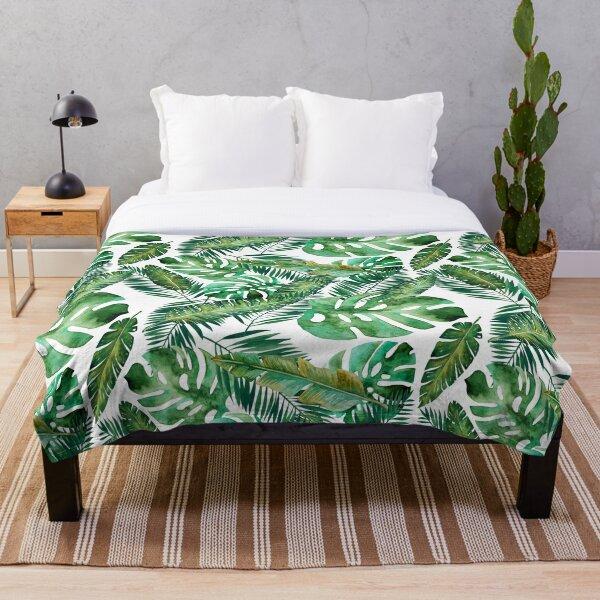 Monstera Banana Palm Leaf Throw Blanket