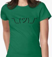 Shrug Emoticon ¯\_(ツ)_/¯ Japanese Kaomoji Womens Fitted T-Shirt