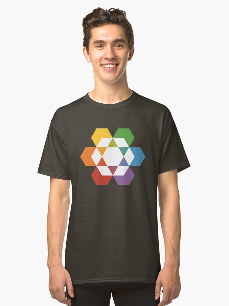 Hexagonal Awareness Star Dattern (white infill) Classic T-Shirt Front