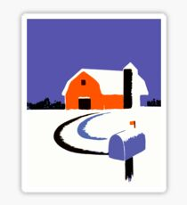 Winter Farm Scene Poster Graphic Sticker