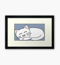 Cute Sleeping Cat - White Framed Print
