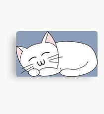 Cute Sleeping Cat - White Canvas Print