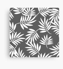 White leaves on a grey background pattern Canvas Print