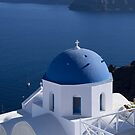 Blue Dome Church in Santorini by Lucinda Walter