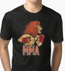 Mixed Martial Arts Lion Heart Beast MMA Fans and Fighters Tri-blend T-Shirt