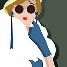 Art Deco Woman Red Lips Sunglasses and Gloves by scooterbaby