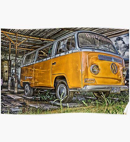 HDR Orange Volkswagen mini van Poster