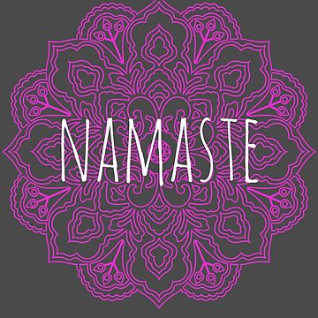 Yoga namaste greeting with a beautiful mandala pattern, hindu greeting, I bow to the divine in you by mtsuszycki
