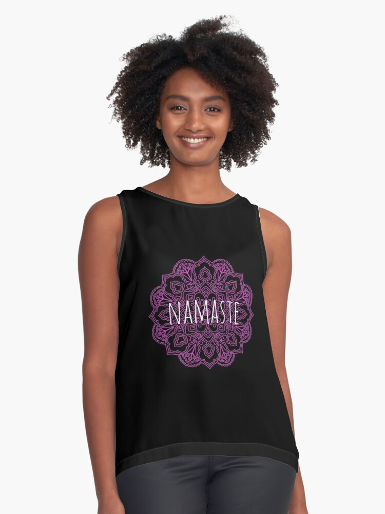 Yoga namaste greeting with a beautiful mandala pattern, hindu greeting, I bow to the divine in you Contrast Tank Front
