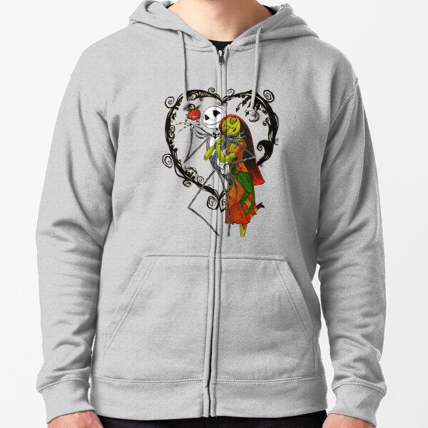 Happy Holidays Jack and Sally Zipped Hoodie