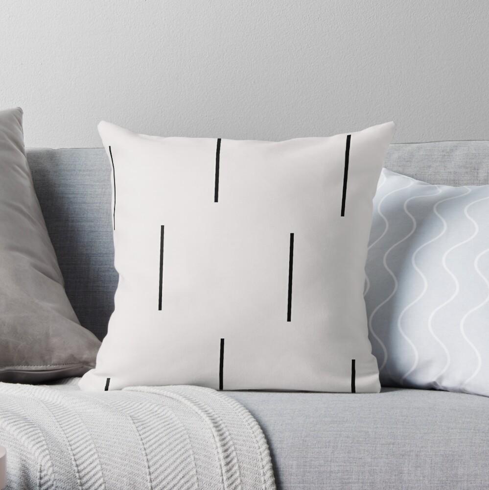 MUDCLOTH BLACK AND WHITE STRIPES  Throw Pillow