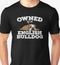 e7829882 Bulldog Funny Design - Owned By An English Bulldog Slim Fit T-Shirt