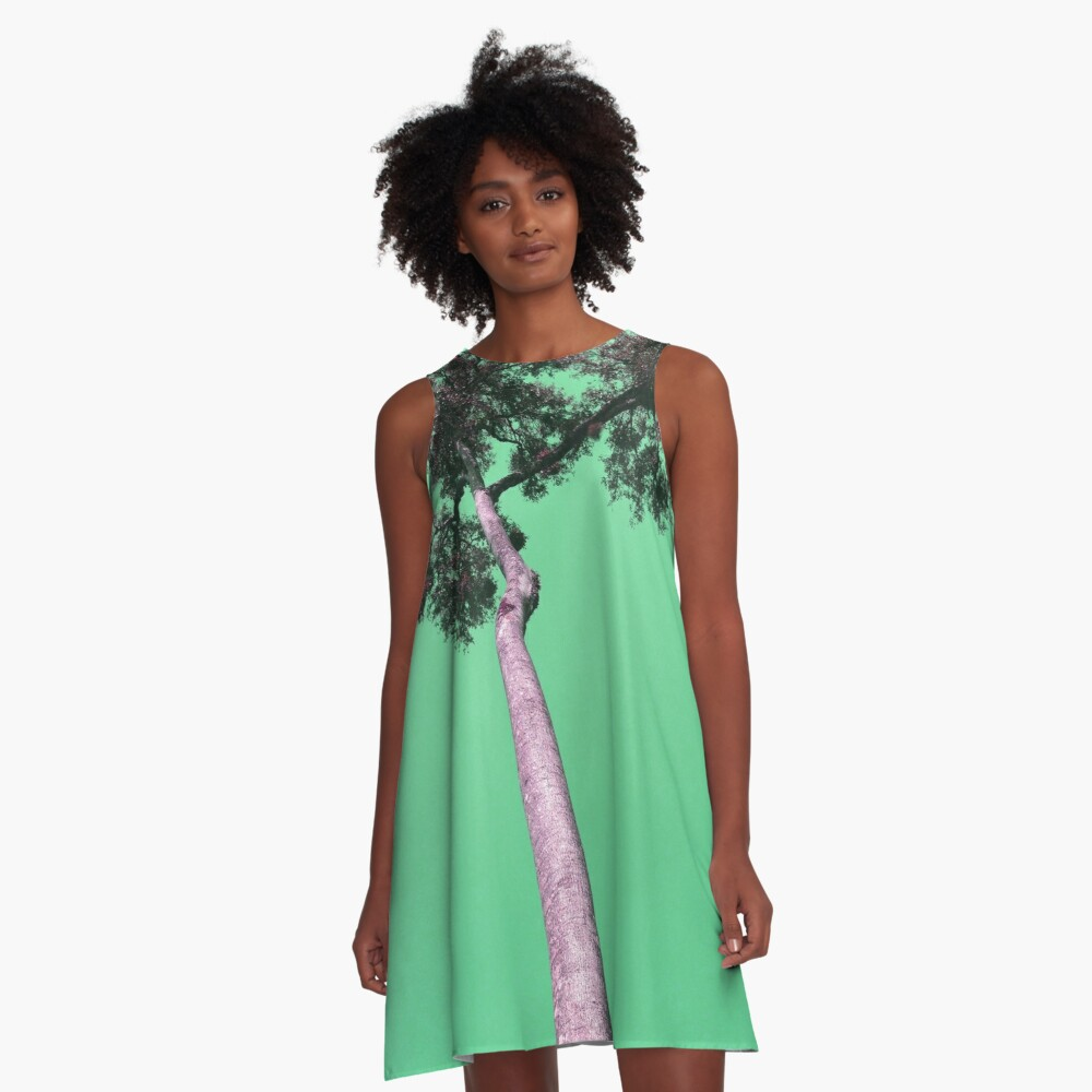 Tree in Green A-Line Dress Front