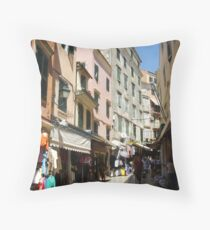 Market day in Old Corfu Town Throw Pillow