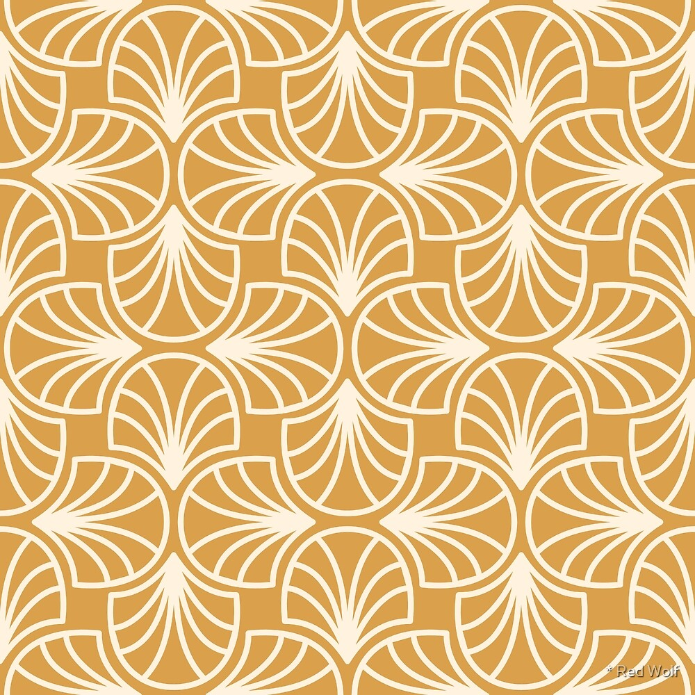 Geometric Pattern: Art Deco: Curve Outline: Cream/Gold by * Red Wolf