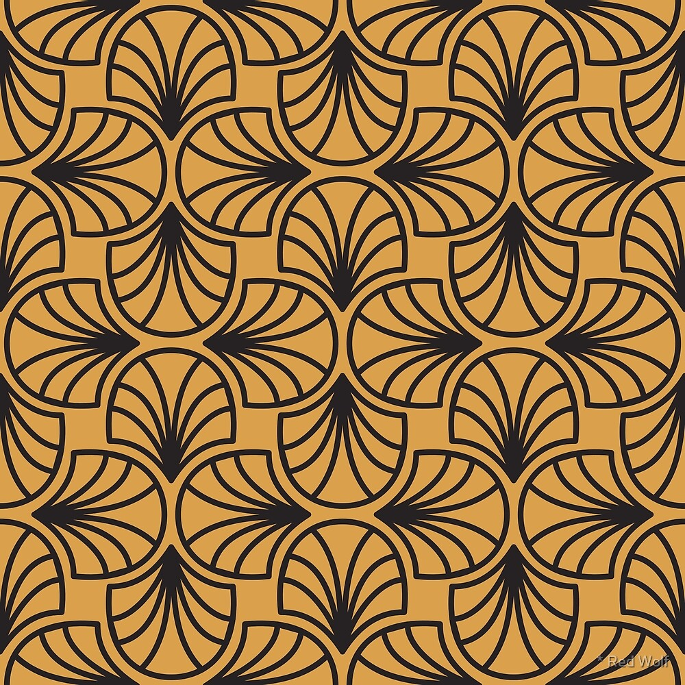 Geometric Pattern: Art Deco: Curve Outline: Black/Gold by * Red Wolf