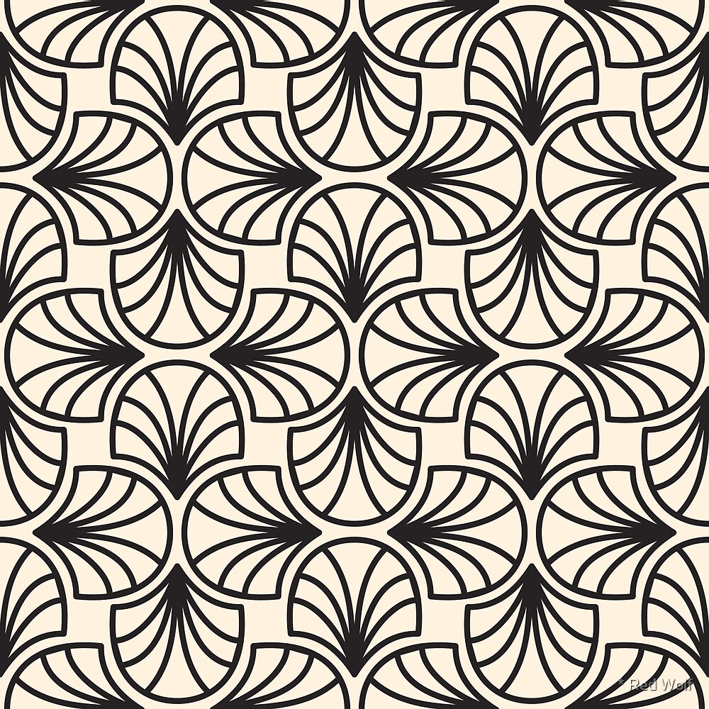 Geometric Pattern: Art Deco: Curve Outline: Black/Cream by * Red Wolf