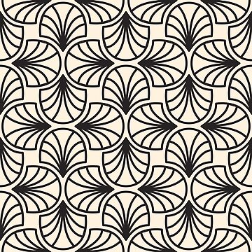 Geometric Pattern: Art Deco: Curve Outline: Black/Cream by redwolfoz