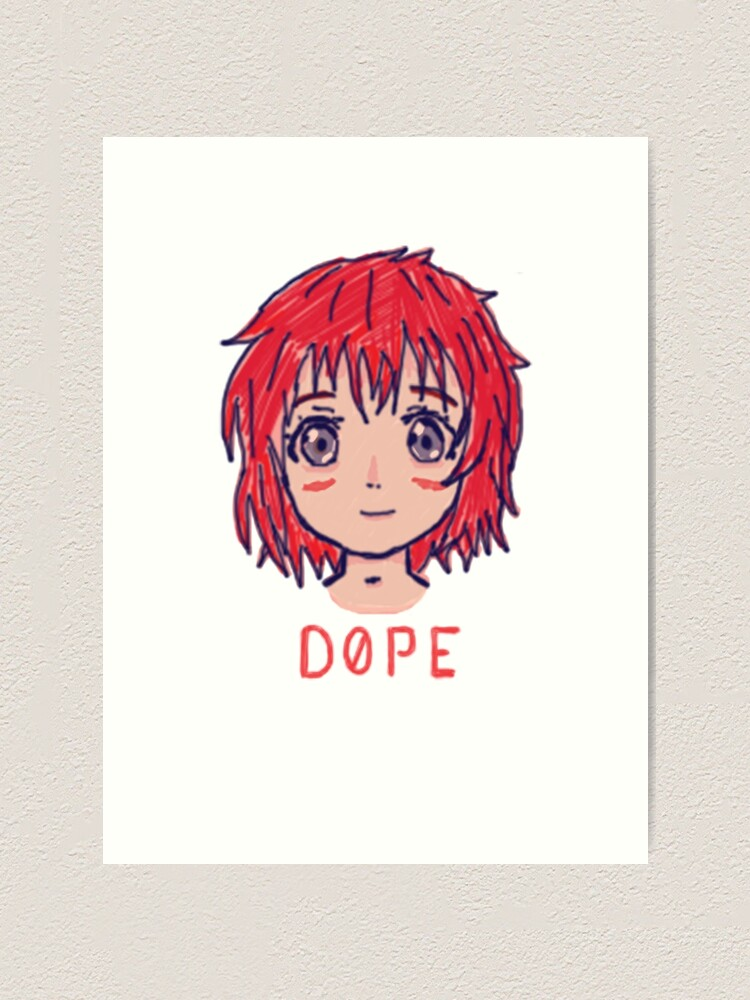 Dope Anime Girl Doodle Design Art Print By Sad Square Redbubble