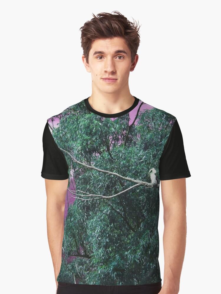 Kookaburra in Green Graphic T-Shirt Front