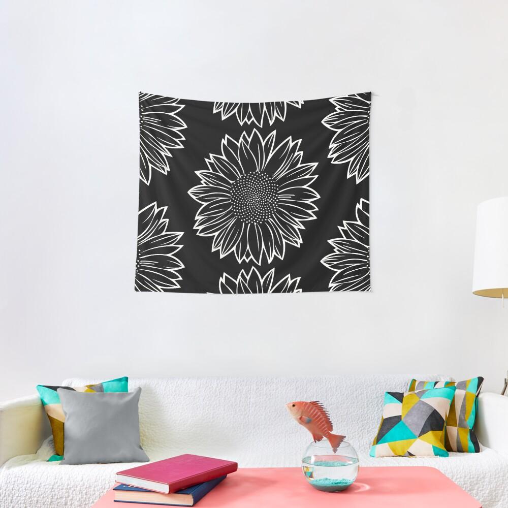 Sunflower in White Tapestry